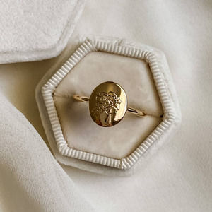 Gold Oval Peony Signet Ring